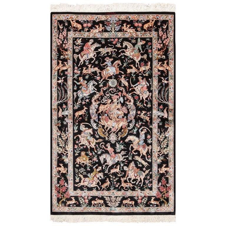 Silk Hunting Scene Vintage Qum Persian Rug