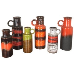 Set of Six Vintage Pottery Fat Lava Vases Made by Scheurich, Germany, 1970s