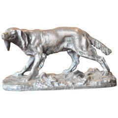 "19th Century French Antique Bronze Hunting Dog ""Chien de chasse"""