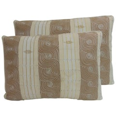 Pair of Vintage Striped Embroidered African Bolster Decorative Pillows