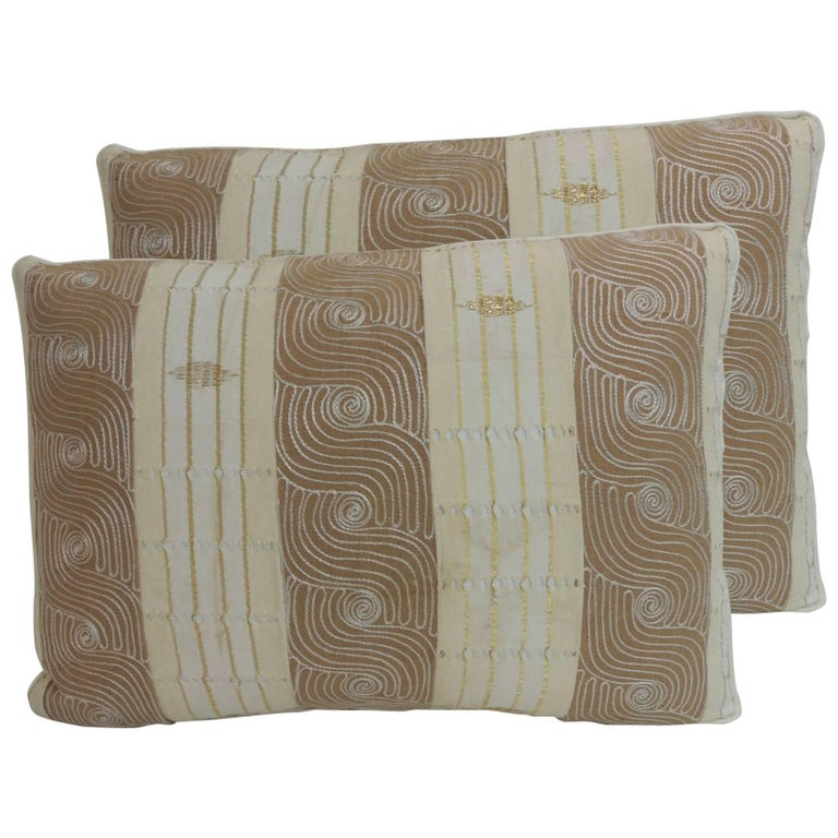 Decorative Pillows Vintage : Pair of Vintage Striped Embroidered African Bolster Decorative Pillows For Sale at 1stdibs