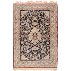 Silk and Wool Vintage Nain Persian Rug