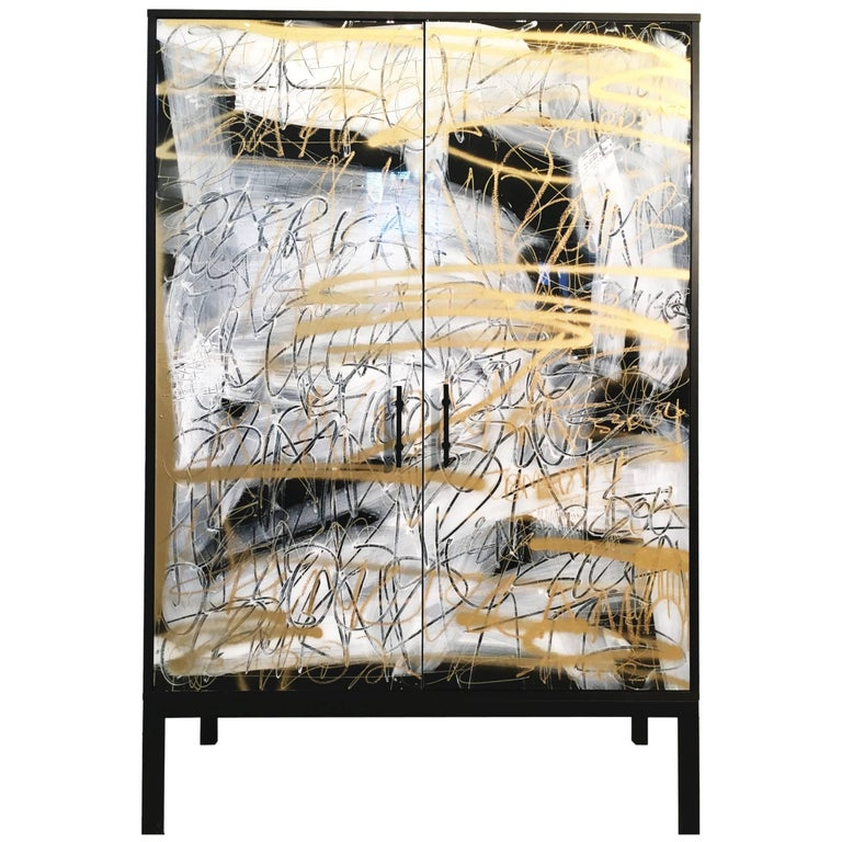 Art Door Cabinet by Morgan Clayhall, The Hudson Cabinet, Walnut and Steel For Sale