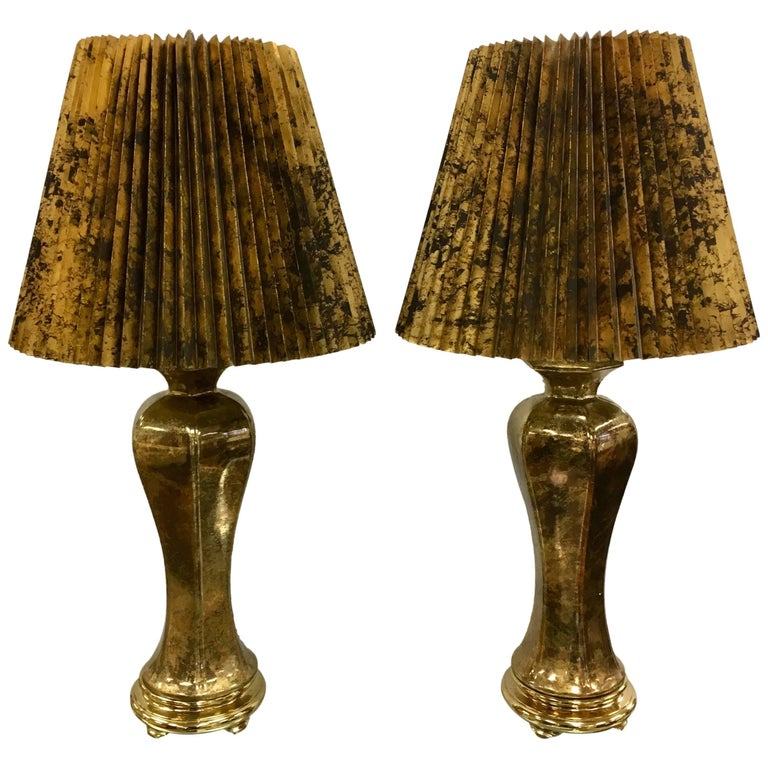 Pair of Monumental Hollywood Regency Glazed Gold Urn Form Table Lamps