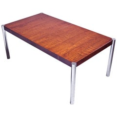 Vintage American Dining Table with Two leaves in Bubinga and Chrome, 1970s