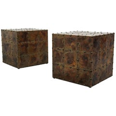 Pair of Patinaed Copper Cube Side Tables Made in Spain by Sarreid