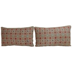 Pair of Vintage Japanese Silk Red and Blue Obi Lumbar Decorative Pillows
