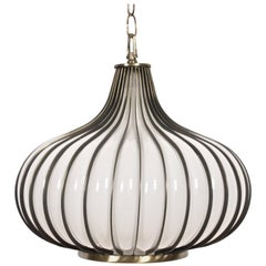 "Lightcraft of California White Glass and Brass ""Allium"" Hanging Lamp, Circa 1970"