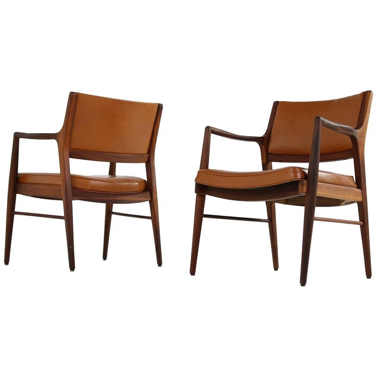 Pair of 1960s Solid American Walnut & Cognac Leather Lounge Chairs, MI 1961 U.S.