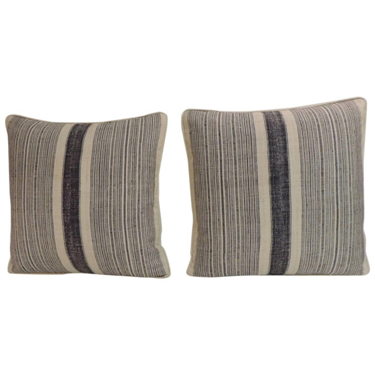 Pair of Vintage Asian Indigo & Natural Stripes Woven Hemp Decorative Pillows