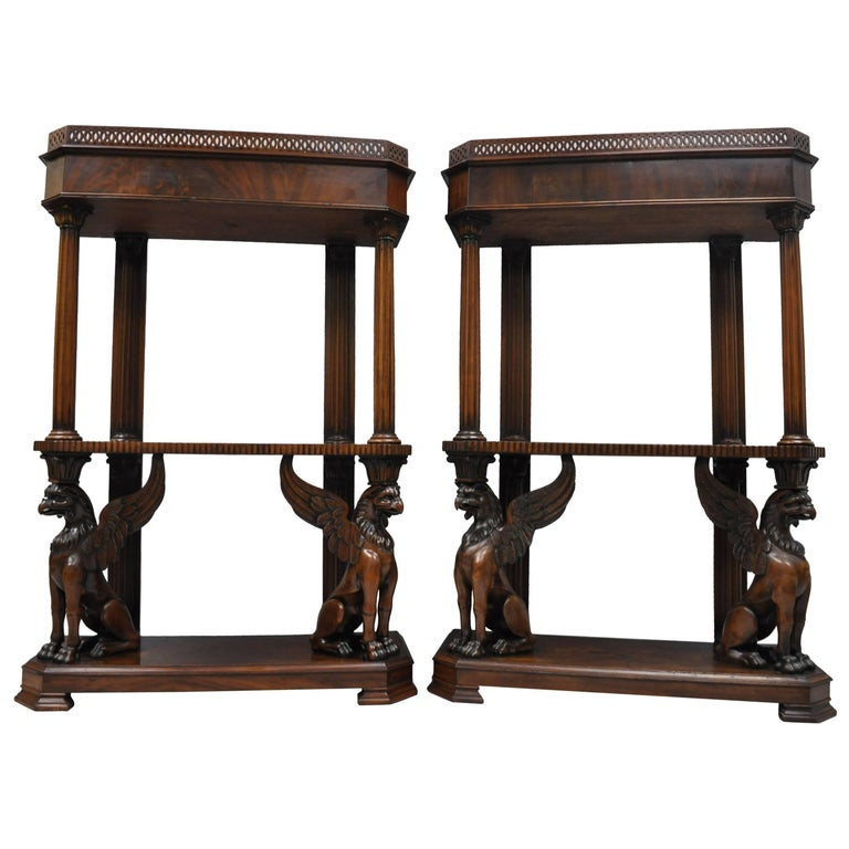 Mahogany Regency Style Carved Griffin Bookcase Curio Stands Horner Style, a Pair