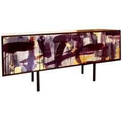 Art Door Sideboard 'Pratt Credenza' by Morgan Clayhall Walnut and Steel Cabinet