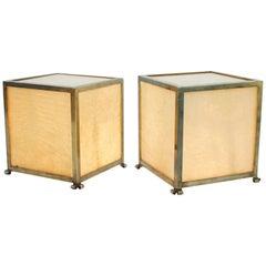 Rare Pair of Goatskin Cube Floor Lamps by Aldo Tura, Italy 1950s