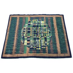 Aubusson ? Hand-made woolen carpet  with monogram circa 1960.