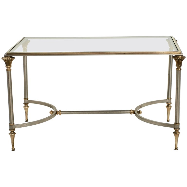 Classic Maison Jansen Style Brass and Stainless Steel Cocktail Table