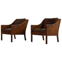 Pair of 1960s Borge Mogensen Mod. 2207 Leather Lounge Chairs, Danish Modern