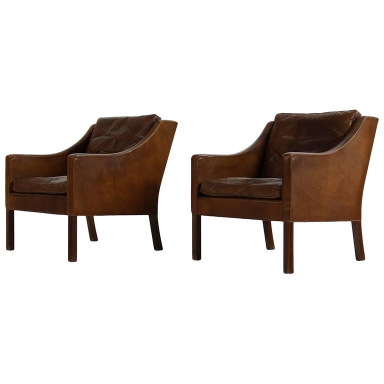 Pair of 1960s Borge Mogensen Mod. 2207 Leather Lounge Chairs, Danish Modern