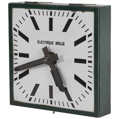 Large Industrial Green Metal Clock from Early 20th Century France