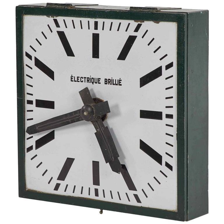 Large Industrial Green Metal Clock from Early 20th Century France  For Sale