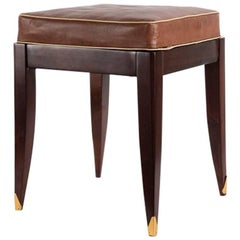 Adjustable Square Piano Stool, Red Upholstery, France