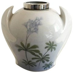 Bing and Grondahl Art Nouveau Vase with Silver Top