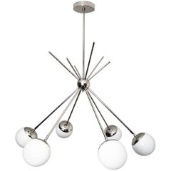 "Model 220 ""Burst"" Chandelier in Polished Nickel and Glass by Blueprint Lighting"