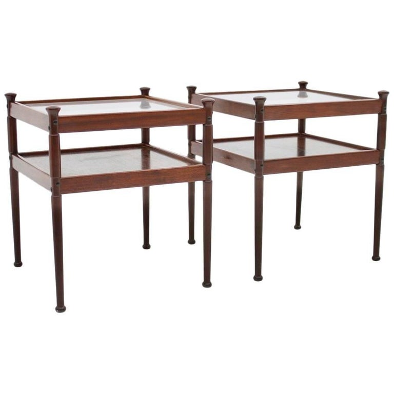 Pair of Scandinavian Wood and Glass Side Tables 1960s