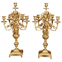 Large Pair of French Baroque Gilt Bronze Candelabra