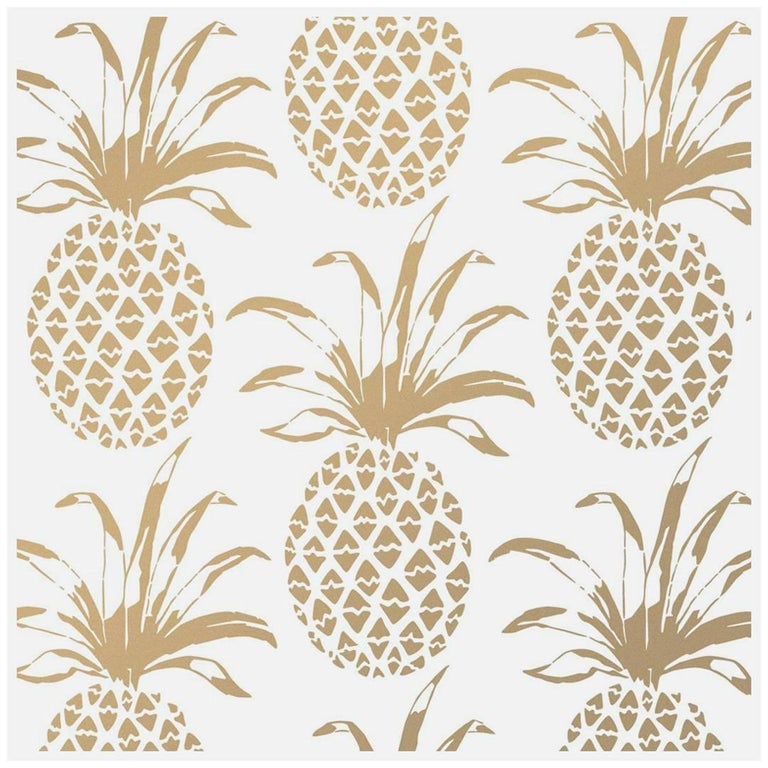 Pina Sola Designer Wallpaper In Color Sphinx Metallic Gold On White