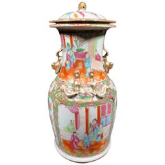 Large 19th Century Canton Export Chinese Lidded Vase Famille Rose
