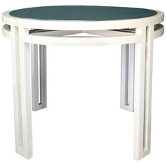 1980s White and Leather Center Table