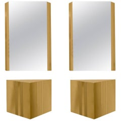 1970s Angular Brass Consoles with Matching Mirrors