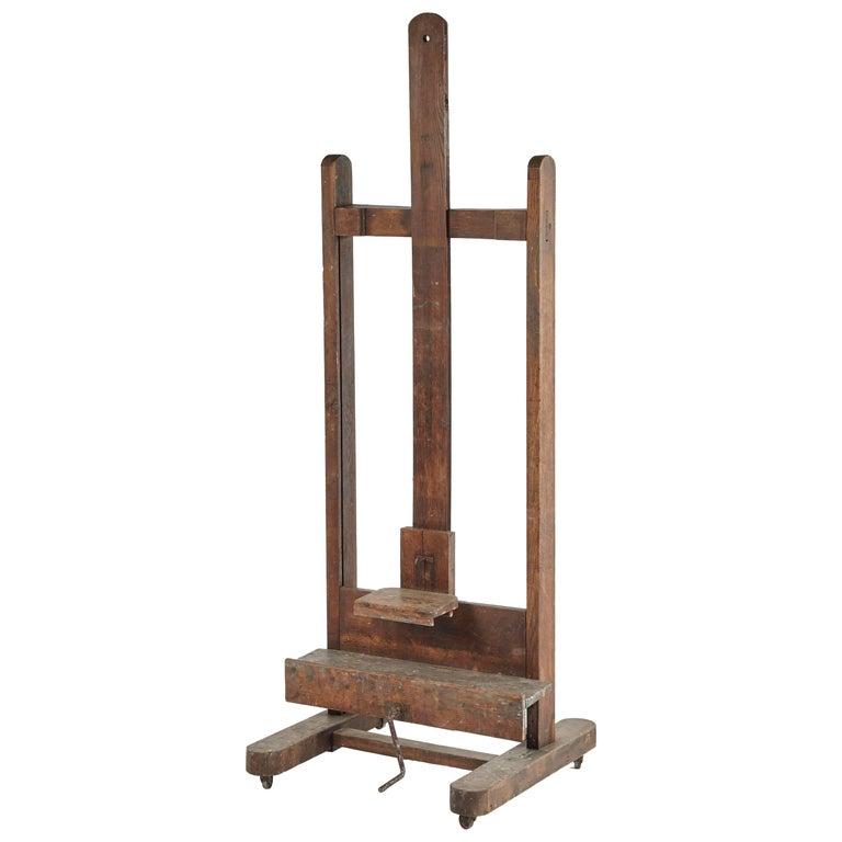 Large Wooden Artist's Easel from Late 19th Century France