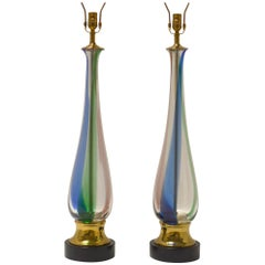 Pair of Handblown Murano Glass Lamps