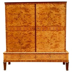 Swedish Art Deco Storage Cabinet in Highly Figured Golden Flame Birch, 1930s