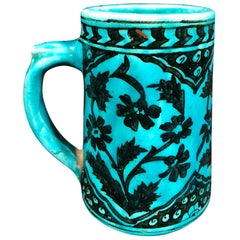 Kashan Style 20th Century Turkish Turquoise Mug