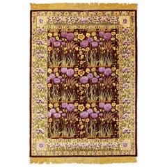 Vintage Silk Tabriz Persian Rug