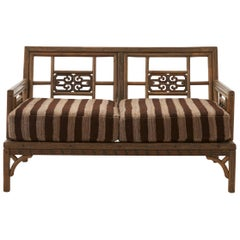 "Rattan ""Greek Key"" Loveseat"