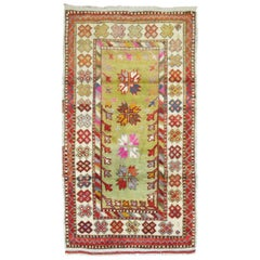 Vintage Anatolian Throw Rug In Bright Green and Pink