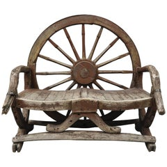 Antique Primitive Conestoga Wagon Wheel Red Bench Large Rustic Wooden Seat