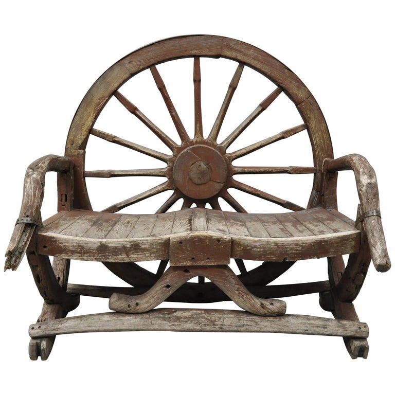 Antique Primitive Conestoga Wagon Wheel Red Bench Large Rustic Wooden Seat For