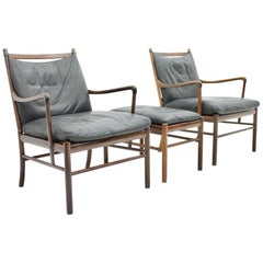 Pair of Colonial Chairs with Stool by Ole Wanscher, Poul Jeppesen, Denmark