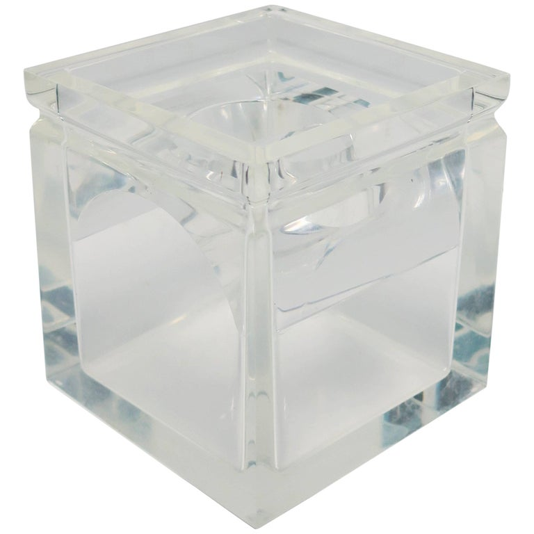 Lucite Tissue Box in the Style of Charles Hollis Jones For Sale