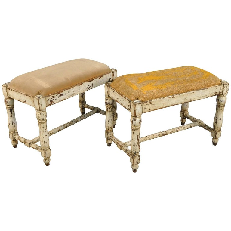 Pair Of Spanish 19th Century Painted Benches