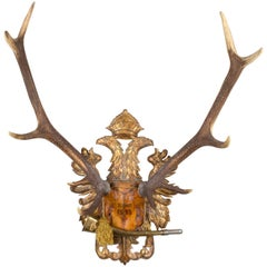 Austrian Red Stag Trophy on Gilt Eagle Plaque with Original Hunt Horn