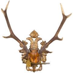 Austrian Red Stag Trophy on Gilt Eagle Plaque with Original Hunt Horn