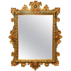 18th Century Italian Giltwood and Polychrome Mirror