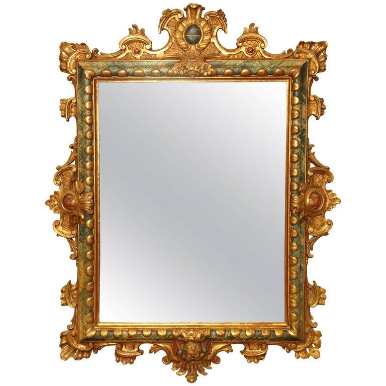 18th Century Italian Giltwood and Polychrome Mirror