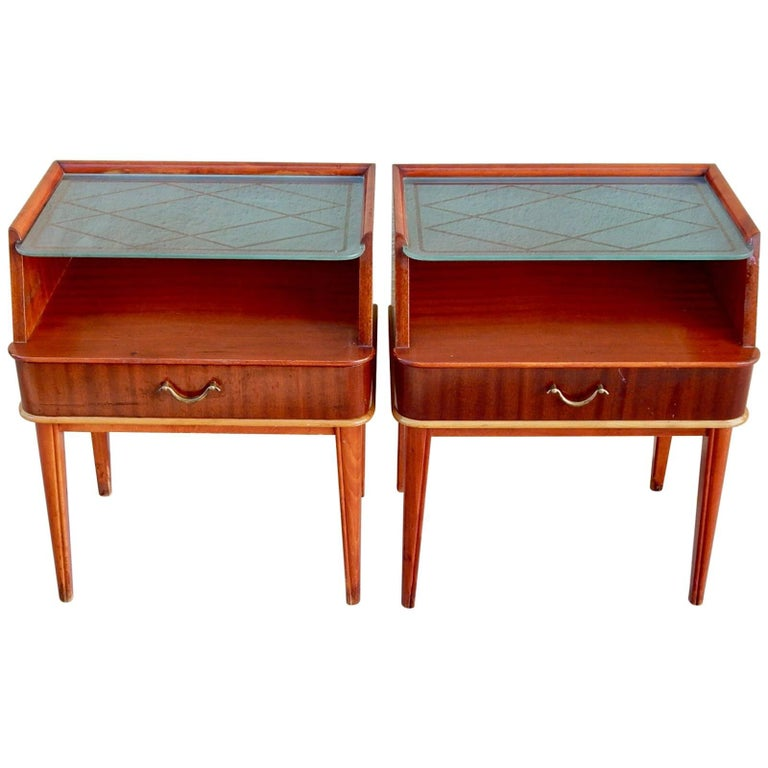 Pair of Swedish Mid-Century Modern End Tables in Mahogany and Glass, circa 1950