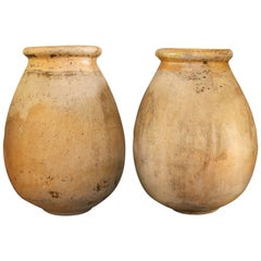 Pair of Large 18th Century Biot Olive Oil Jars from a Farm in Toulon, France